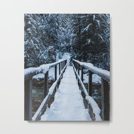 Crossing the river in winter Metal Print