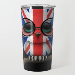 Baby Owl with Glasses and the Union Jack British Flag Travel Mug