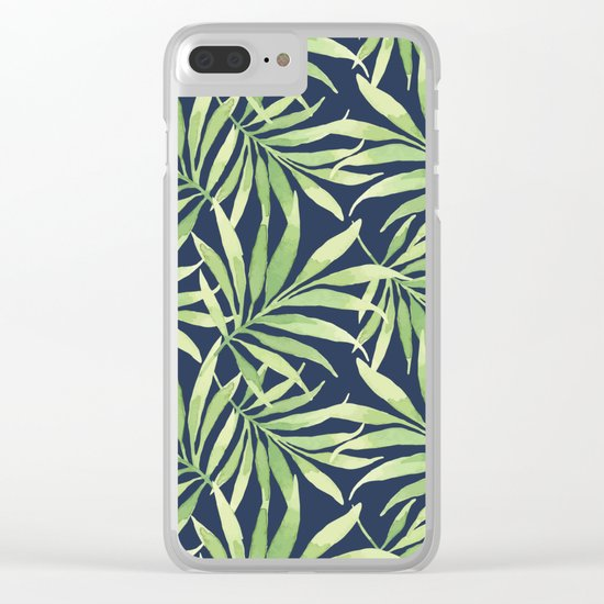 Tropical Branches on Dark Pattern 10 Clear iPhone Case