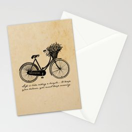 Albert Einstein - Life is Like Riding a Bicycle Stationery Cards