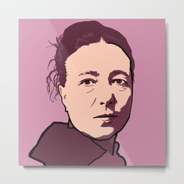 Simone de Beauvoir Red Pink Mauve Metal Print