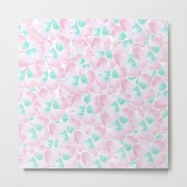 Blush pink turquoise white hand drawn watercolor flowers Metal Print