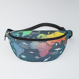 Ocean World Map color #map #worldmap Fanny Pack