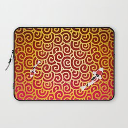 Colored carp with the Japanese pattern (cloud arabesque) Gold and Deep red color Laptop Sleeve