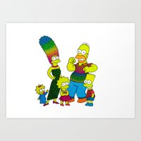 simpsons Art Prints featuring The Simpsons by Luna Portnoi