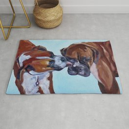 Kissing Boxers Dogs Portrait Rug