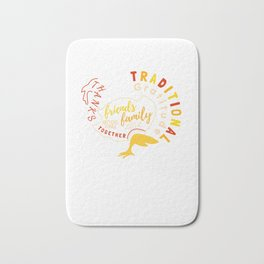 Happy Thanksgiving Day Abstract Turkey Funny Bath Mat