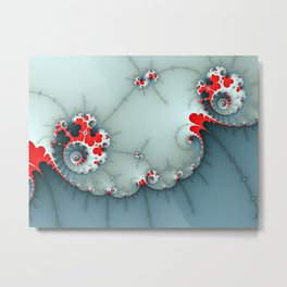 Deep Blue and Red Spiral Abstract Metal Print