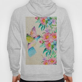 Whimsical watercolor hummingbird and  floral hand paint Hoody