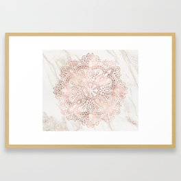 Rose Gold Mandala Marble Framed Art Print
