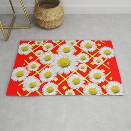 White-Yellow Shasta Daisies Red Pattern Art Rug