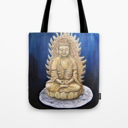 Meditation Buddha Oil Painting Still Life Peaceful Spiritual (Tranquil Space) Tote Bag