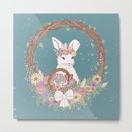 Watercolor Easter Bunny Wreath Art Metal Print