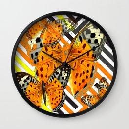 CONTEMPORARY  BUTTERFLIES ORANGE-YELLOW GRAPHIC ART Wall Clock