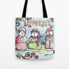 Holiday Snowman Singing Trio Tote Bag