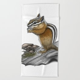 Chipmunk and mushrooms Beach Towel