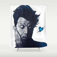 valentines Shower Curtains featuring Tom Waits - Blue Valentines by Brad Collins Art & Illustration