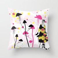 mushroom Throw Pillows featuring Mushroom by Emilie Ramon