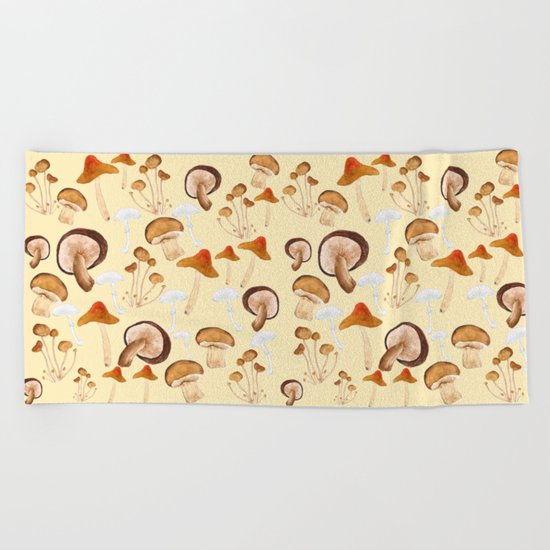 mushroom pattern watercolor painting Beach Towel