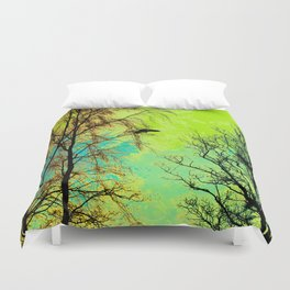 The Bird, the Nest and the Spooky Trees Duvet Cover
