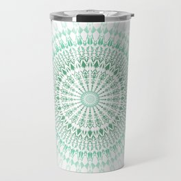 Mint White Geometric Mandala Travel Mug