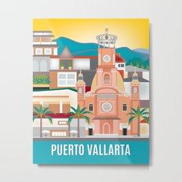 Puerto Vallarta, Mexico - Skyline Illustration by Loose Petals Metal Print