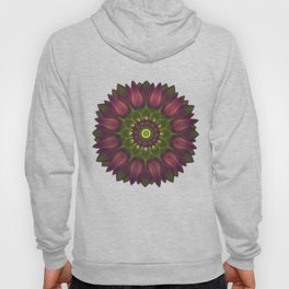 Flower Mandala With Glowing Shades of Purple And Green Hoody