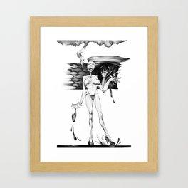 Smoking I wait. Framed Art Print
