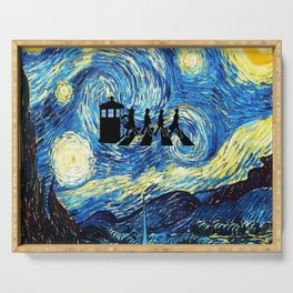 The Doctors Walking Of Starry Night Serving Tray