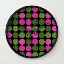 Pattern in pink and olive polka dots on black. Wall Clock