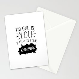 No One Is You And That Is Your Power Inspiration Quote Art  Stationery Cards