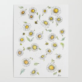 Bees and Daisies Poster