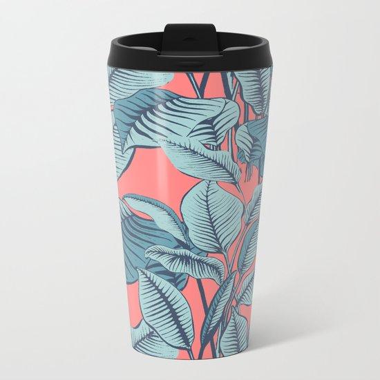 Pink Exotic Tropical Banana Palm Leaf Print Metal Travel Mug
