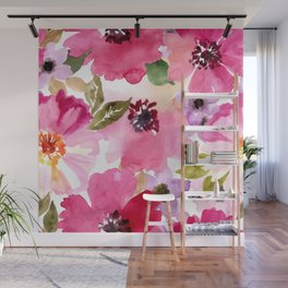 Watercolor Flowers Pink Fuchsia Wall Mural