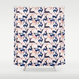 Deco Gazelles Garden // white background navy animals and rose metal textured decorative elements Shower Curtain