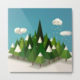 Winter geometric landscape with pines and snow Metal Print