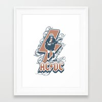 acdc Framed Art Prints featuring acdc angus young by aceofspades81