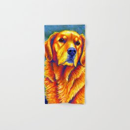 Colorful Golden Retriever Dog Portrait Hand & Bath Towel