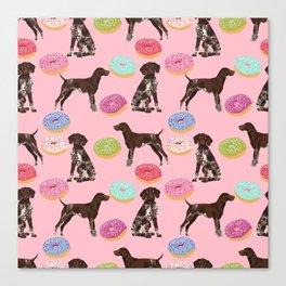 German Shorthair Pointer pink donuts dog breed art work pet portrait dog art furry fur baby Canvas Print