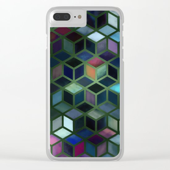 Pastel Boxes Green Clear iPhone Case