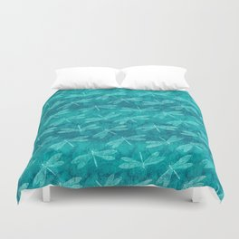 Dragonfly Dance Blue Green Duvet Cover