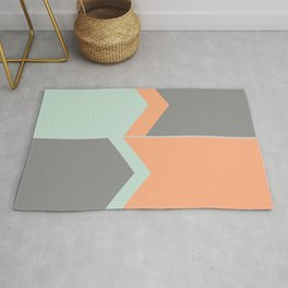 Orange, Green Grey Pastel Abstract Rug
