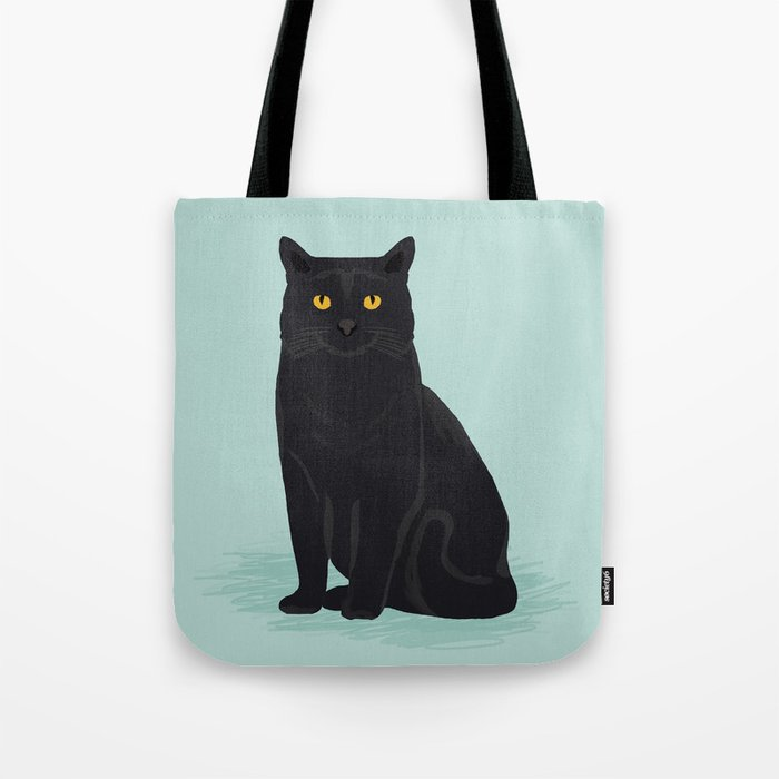 Black Cat cute cat breed customized pet portrait mint background cat lady gifts gender neutral kitty Tote Bag