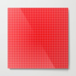 Red Grid White Line Metal Print