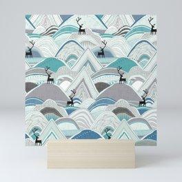 caribou mountains blue Mini Art Print
