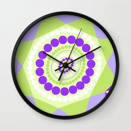 Lavender Mint Abstract Geometric Floral Flowers Illustration Wall Clock
