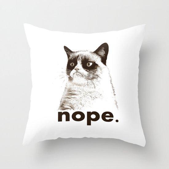 NOPE - Grumpy cat. Throw Pillow