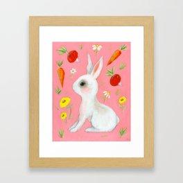 Bunny and treats Framed Art Print
