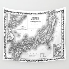 Vintage Map of Japan (1855) BW Wall Tapestry