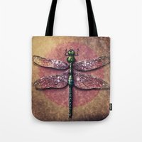 dragonfly Tote Bags featuring Dragonfly  by Werk of Art